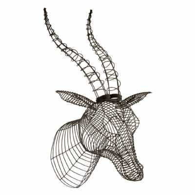 Contemporary Style Zania Black Finish Steel Wire Framed Antelope Head