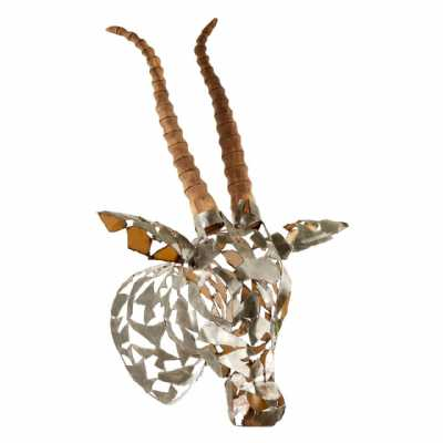Heritage Boho Recycled Metal And Natural Wood Zania Antelope Head