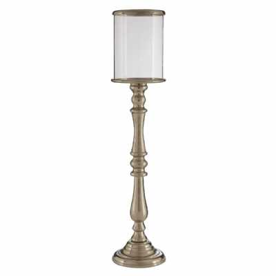 Kensington Townhouse Small Nickel Floor Standing Candle Holder Lantern