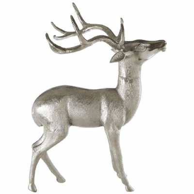 Modern Stately Design Large Silver Nickel Finish Floor Standing Stag