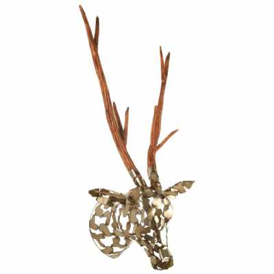 Heritage Boho Style Zania Recycled Metal And Natural Wood Stag Head