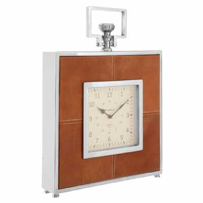 Regal Style Churchill Brown Leather Finish Steel Framed Mantle Clock