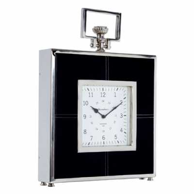 Regal Style Churchill Mantle Black Leather Finish Steel Framed Clock