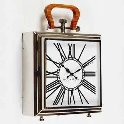 Square Designed Hampstead Stainless Steel Mantle Clock Roman Numerals