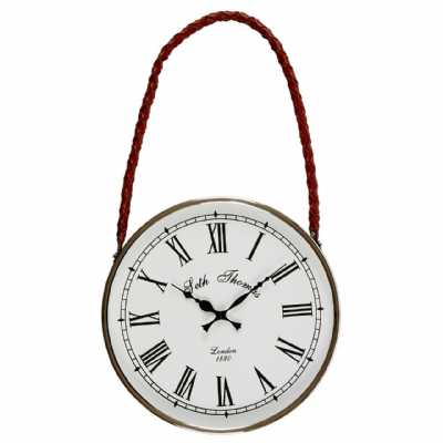 Churchill Stainless Steel Leather Effect White Hanging Wall Clock