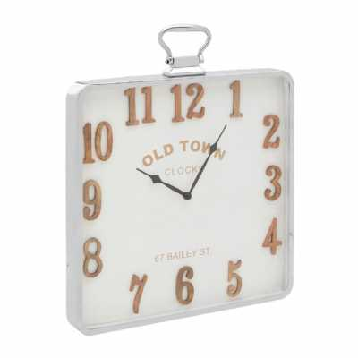 Vintage Hampstead Pocket Style Square White Metal Frame Wall Clock