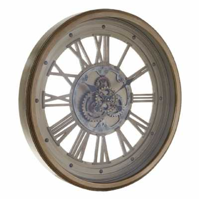 Cassop Antique Gold Finish Framed Wall Clock With Exposed Gear Detail