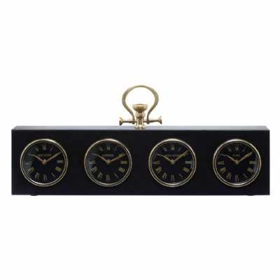 Fifty Five South Hampstead Black And Gold Time Zone Clock