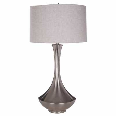 Contemporary Lana Chrome Table Lamp with Neutral Fabric Shade