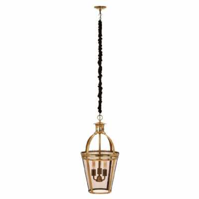 Large Caly Bucket Ornate Accent Pendant Light Brass Finish Metal Frame