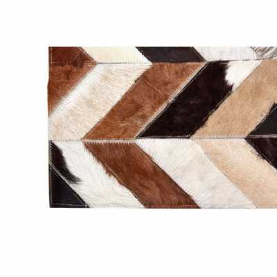 Boho Chic Safira Small Natural Cowhide Leather Wool Rug With Patchwork