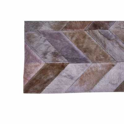 Boho Chic Safira Genuine Leather Wool Rug With Light Grey Patchwork