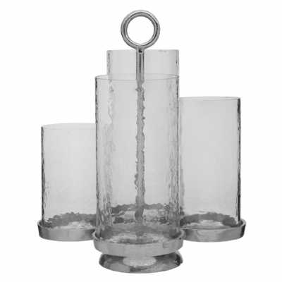 Verve Multi Aluminium Candle Holder With 4 Clear Glass Lantern Cases