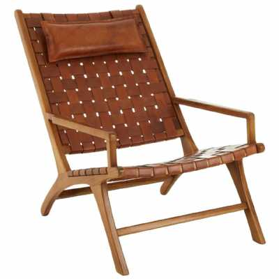 Fifty Five South Kendari Teak Wood And Leather Chair