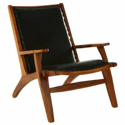 Fifty Five South Kendari Black Leather Wood Chair