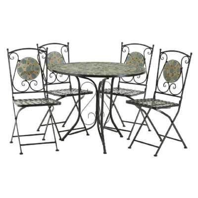 Amalfi Blue Stone Mosaic 4 Chairs Table Dining Set Ornate Metalwork