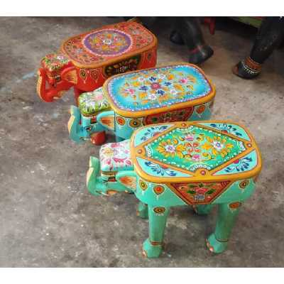 Carnival Wooden Hand Carved Stool