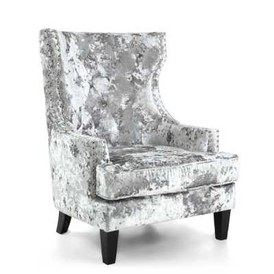Silver High Grade Luxury Crushed Velvet Royalty Armchair
