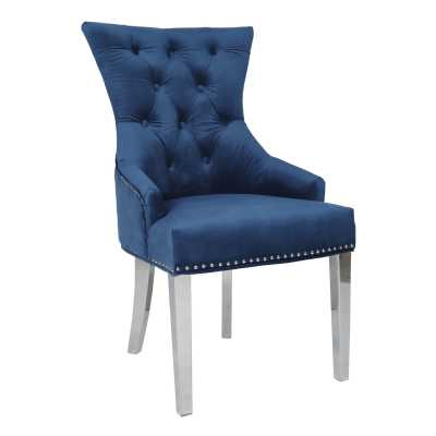 Blue Velvet Chair with Studded Detail And Stainless Steel Legs