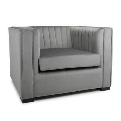 Victoria Brushed Velvet Grey Armchair