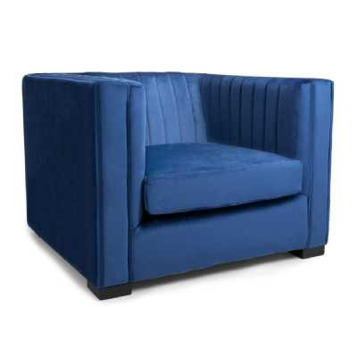 Victoria Brushed Velvet Ocean Blue Armchair