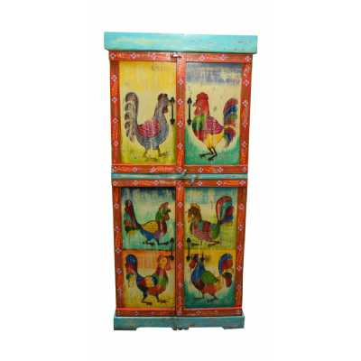 Carnival Hand Painted Vintage Rooster Folk Pattern 4 Door Tall Storage Cabinet