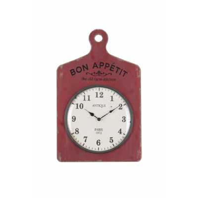 Vintage Rectangular Bon Appetite Chopping Board Structured Wood Maroon Wall Hanging Clock 44.5x5.8x70cm