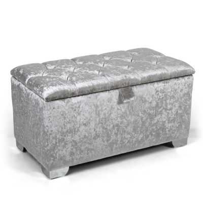 Molineux 3ft Crushed Velvet Silver Ottoman Modern Storage Unit