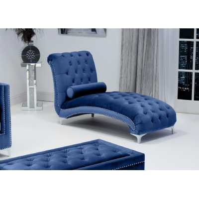 Dorchester Brushed Velvet Ocean Blue Chaise with Polished Chrome Feet