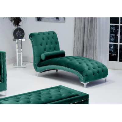Dorchester Brushed Velvet Green Chaise with Polished Chrome Feet