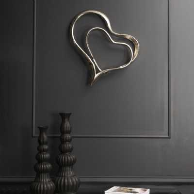 Silver Abstract 2 Hearts Wall Sculpture Decoration In Aluminium