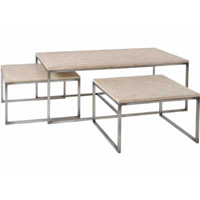 Homestead Mindi Coffee Table with 2 Nesting Tables Set Of 3 Tables