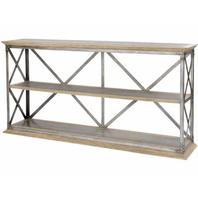 Homestead Kingsley Low Shelving Unit Industrial Wood and Zinc Display