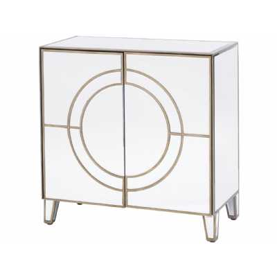 Art Deco Champagne Gold Circle Link 2 Door Cabinet Mirrored Glass