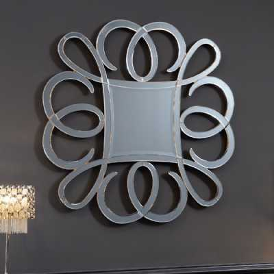 Large Square Venezia Diamond Glass Wall Mirror with Swirl Outer Frame
