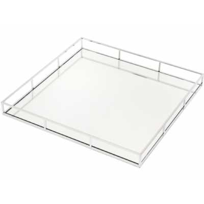 Large Square Rushford Chrome Plated Mirrored Serving Tray Free Delivery
