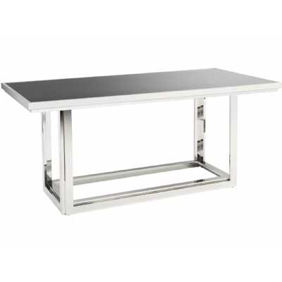 Gatsby Rectangular Stainless Steel Dining Table With Smoked Glass