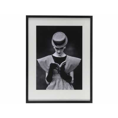 Black and White Time Life Lady Reading Framed Print