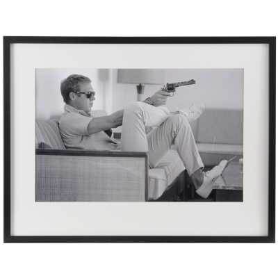 Classic Steve McQueen Takes Aim Black and White Print in Black Frame