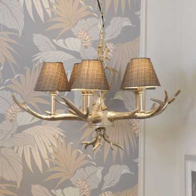 Nickel Plated Antler Chandelier 5 Light Ceiling Light with Grey Shades