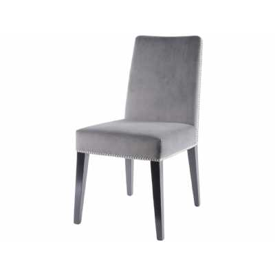 Modern Mayfair Smoked Pearl Grey Velvet Dining Chair with Stud Detail