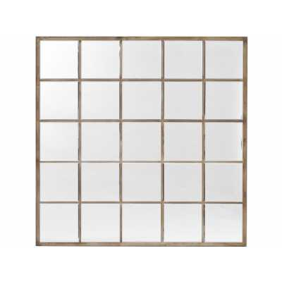 Blakely Square Wall Mirror with Champagne Gold Window Pane Design