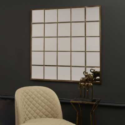 Traditional Style Champagne Gold Finish Large Multi Square Window Pane Bedroom Wall Mirror 100x100cm