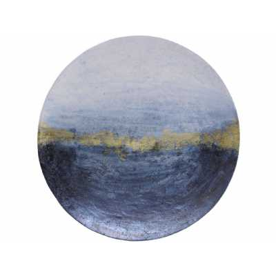 Large Abstract Wall Disc with Blue and Gold Finish