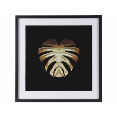 Gold Deco Monstera Leaf Print By Alyson Fennell in Black Frame