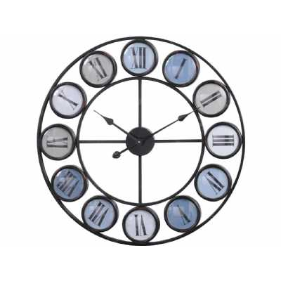 Blue Smarty Iron Round Wall Clock With Acrylic Disc Roman Numerals