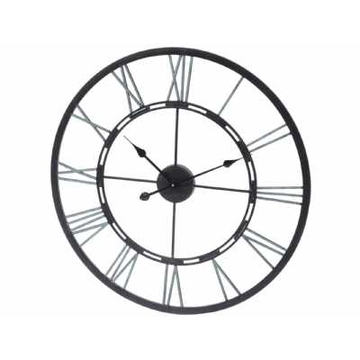 Verdigris Black Skeletal Wall Clock with Iron Roman Numerals