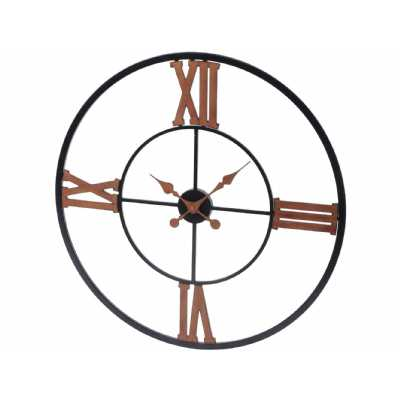 Industrial Black Round Iron Wall Clock with Copper Roman Numerals