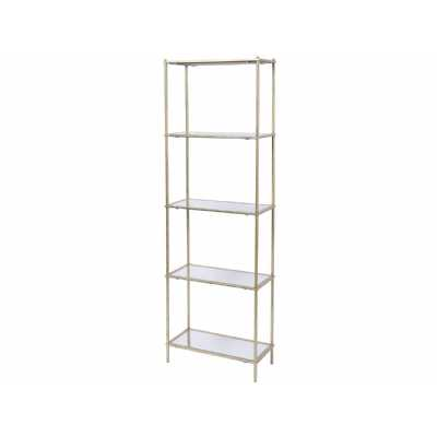 Mylas Gold Painted Metal Shelving Unit With 5 Mirrored Glass Shelves