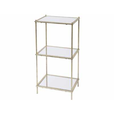 Mylas Three Tier Shelving Unit With Mirrored Panels